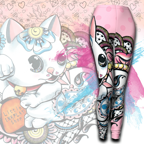 Kawaii Lucky Cat Leggings II