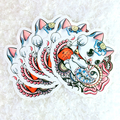 'LIPS' Kawaii Lucky Cat Mascot Sticker
