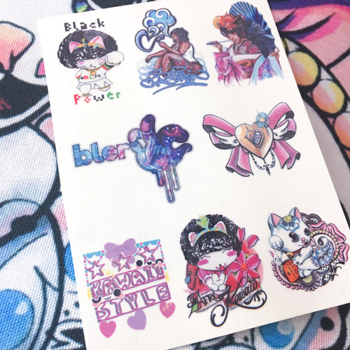 Afro Kawaii Temp Tat Sheet