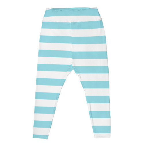 Blue Striped Plus Size Leggings