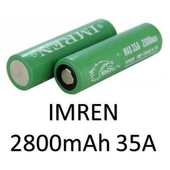 Imren 18650 2800mah 35A (GREEN/FLAT)  (NOW 2 PCS)