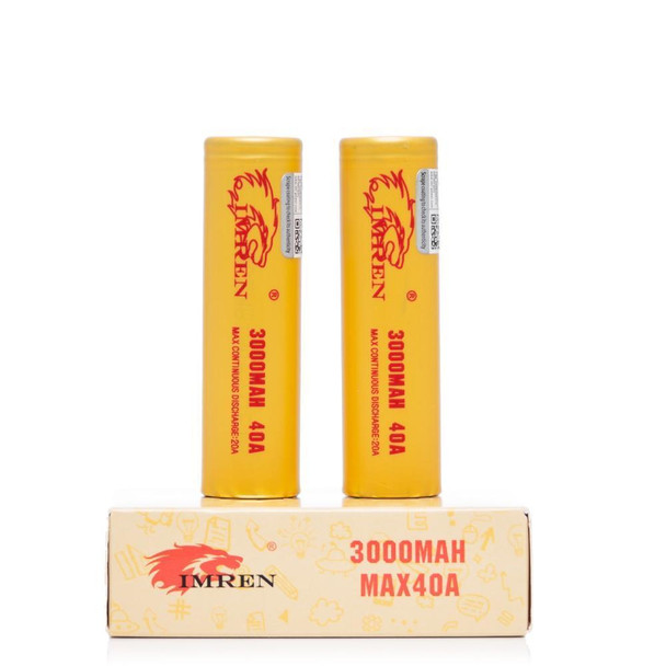 Imren 18650 3000mah 40a 2pack (Cream / Flat top)