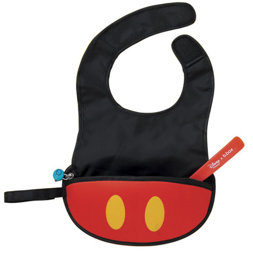 disney mickey mouse travel bib + flexible spoon