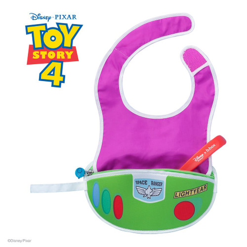 disney buzz lightyear travel bib + flexible spoon