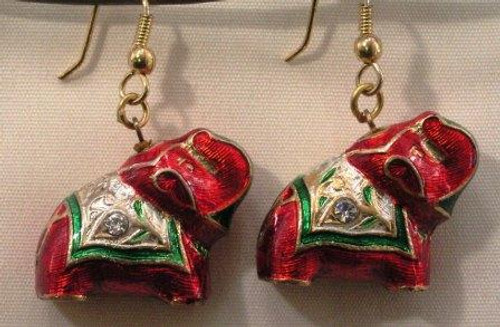 Elephant Earrings. Red