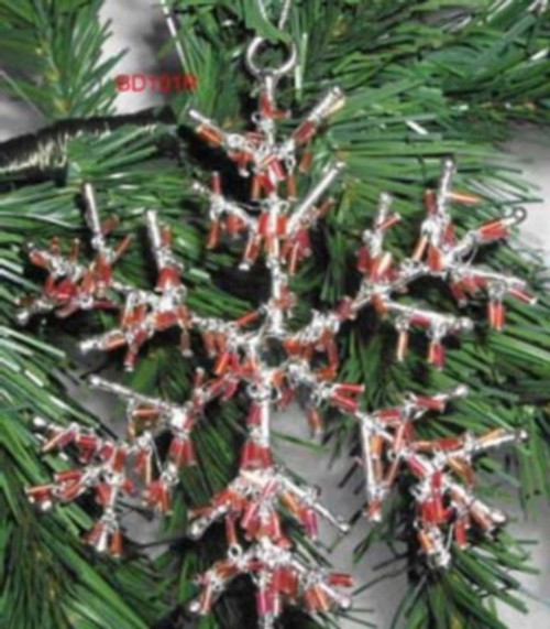 Snowflake beads dangles Red BD101R