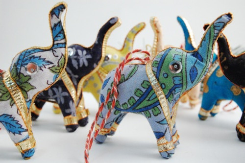 Block Print Elephant Christmas Ornaments