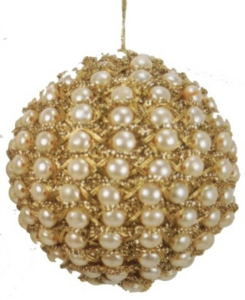 "Ball. Gold pearl braid. 3"". Gold and ecru.  BL07"