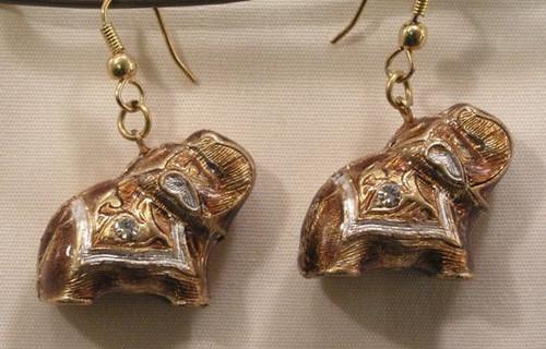 Elephant Earrings. Gold