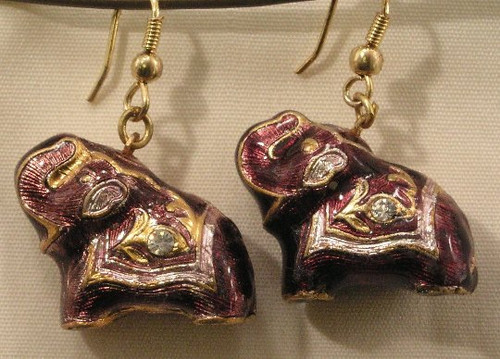 Elephant Earrings. Garnet