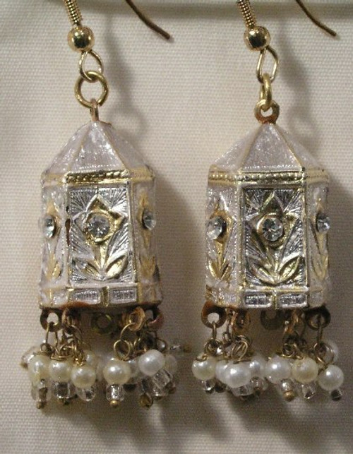 Temple Earrings White and gold Lak JL09W