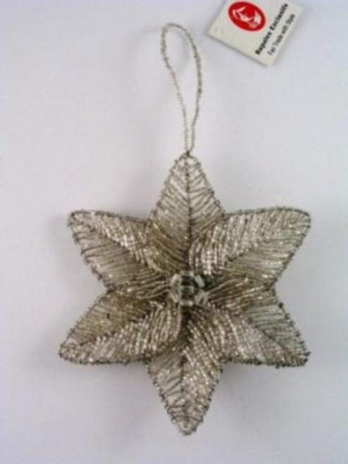 Poinsettia Seed bead Silver BD90S