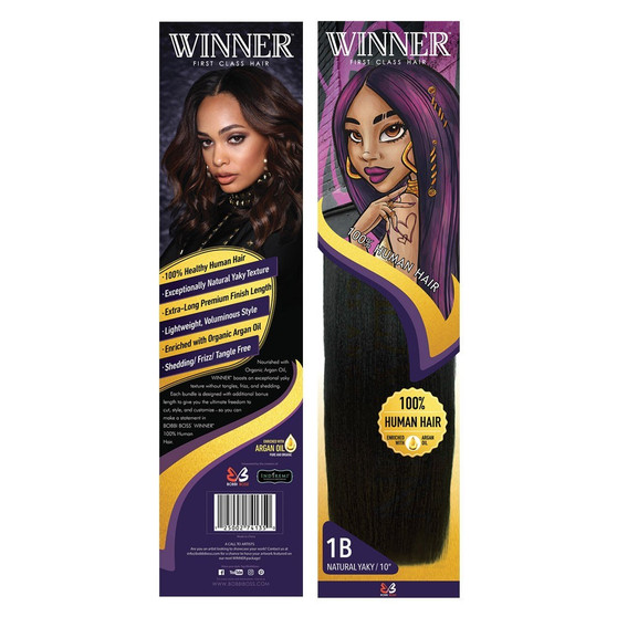 "Bobbi Boss 100% Human Hair Weave Winner Natural Yaky 16""  packaging"