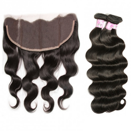 3 Brazilian Body Wave Virgin Bundles with 13 X 4 Frontal 12/14/16
