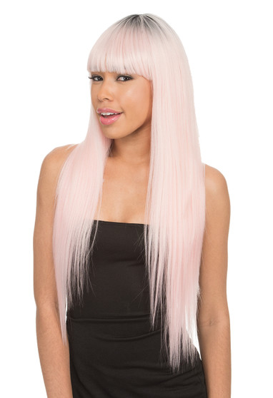New Born Free Long Synthetic Hair Wig w/ Bangs - CT 145