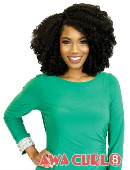 Rastafri Mahogany Awa Curl Synthetic 15 Pcs Clip In Extensions 8 inch