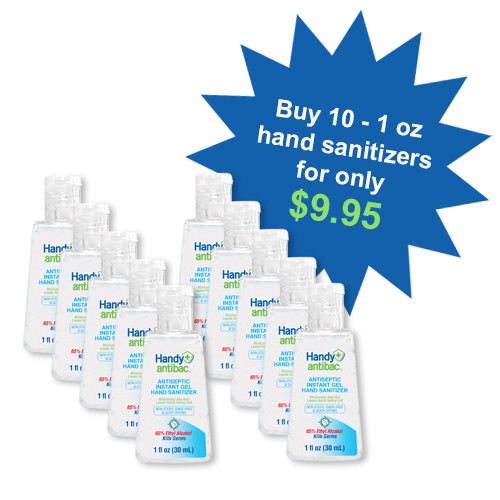 Handy Antibac Instant Hand Sanitizer Handy Pack 1oz - 10 Pack