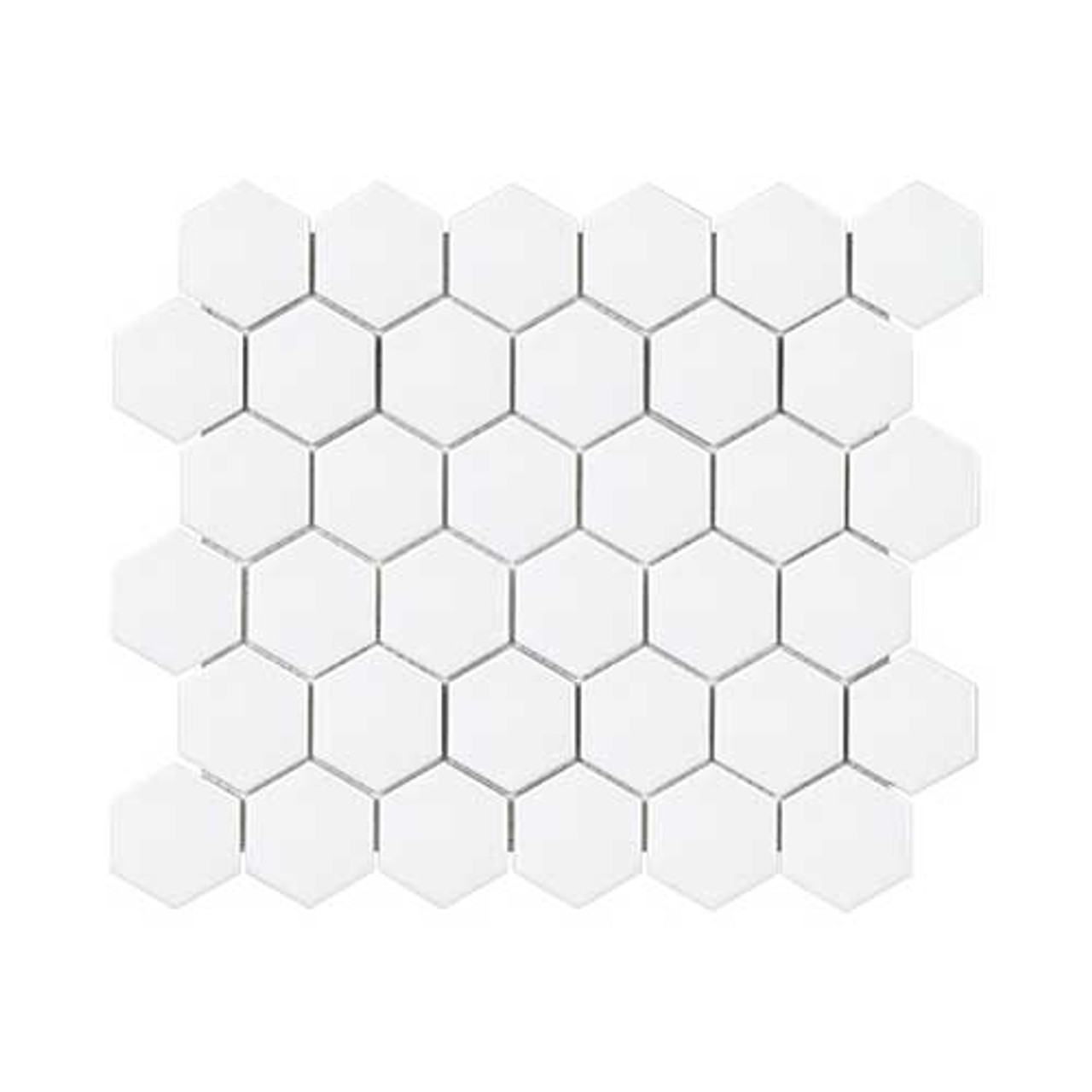 2 Inch Soho Hexagon Mosaic Tile | Matte White