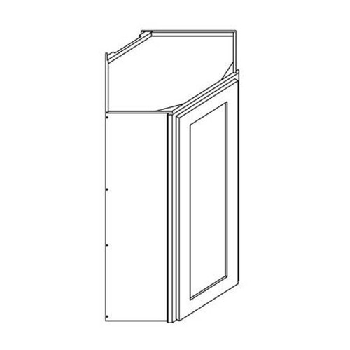 24 Inch x 30 Inch Wall Diagonal Corner Cabinet | Grey | Soft Close | Ready to Assemble