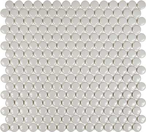3/4 Inch Soho Penny Round Porcelain Mosaic Tiles | Glossy Grey