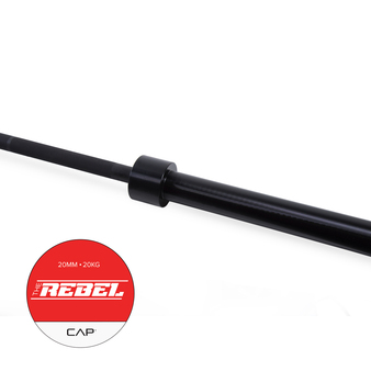 "Handle of CAP ""The Rebel"" Olympic Power Lifting Bar with Center Knurl, Black"