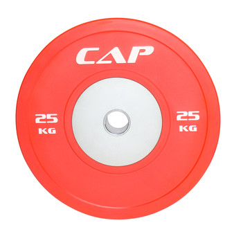 25 kg CAP Olympic Rubber Competition Bumper Plate with Steel Insert, red