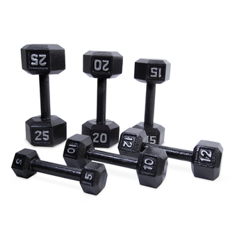 Displaying different sizes of the CAP Cast Iron Hex Dumbbells