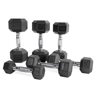 Various sizes of CAP Rubber Coated Hex Dumbbell
