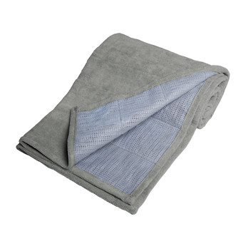Gray Folded Tone Fitness Machine Washable Terry Cloth Yoga Mat