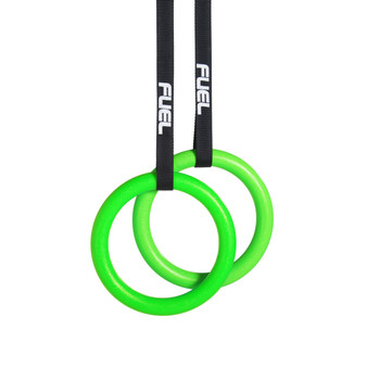 Fuel Pureformance Green Gymnastic Rings for Full Body Strength and Muscular Bodyweight