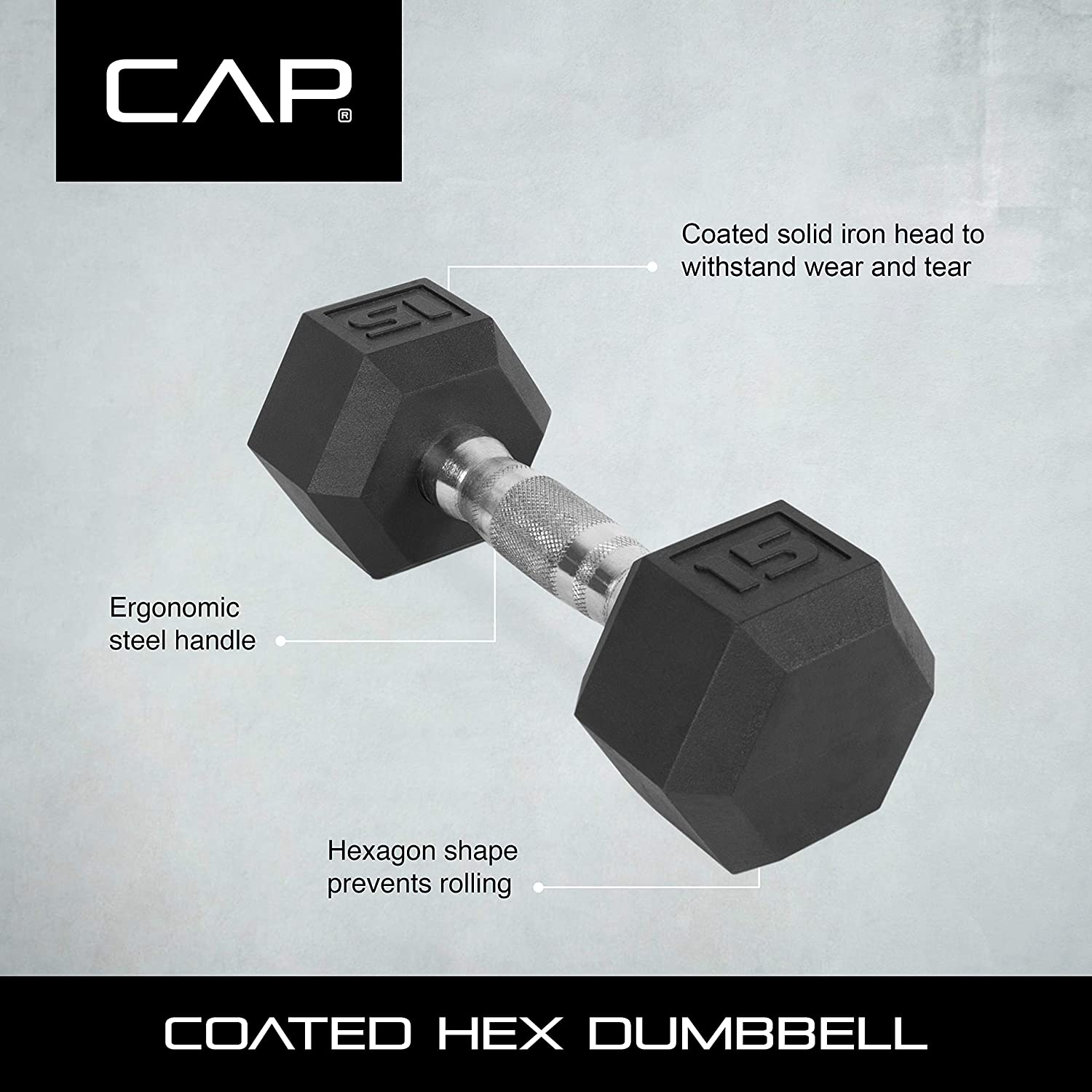 PAIR OF RUBBER COATED HEX DUMBBELLS WEIGHTS