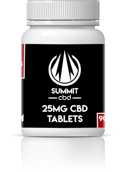 Summit CBD Tablets 30ct/90ct and 10mg/25mg variations.