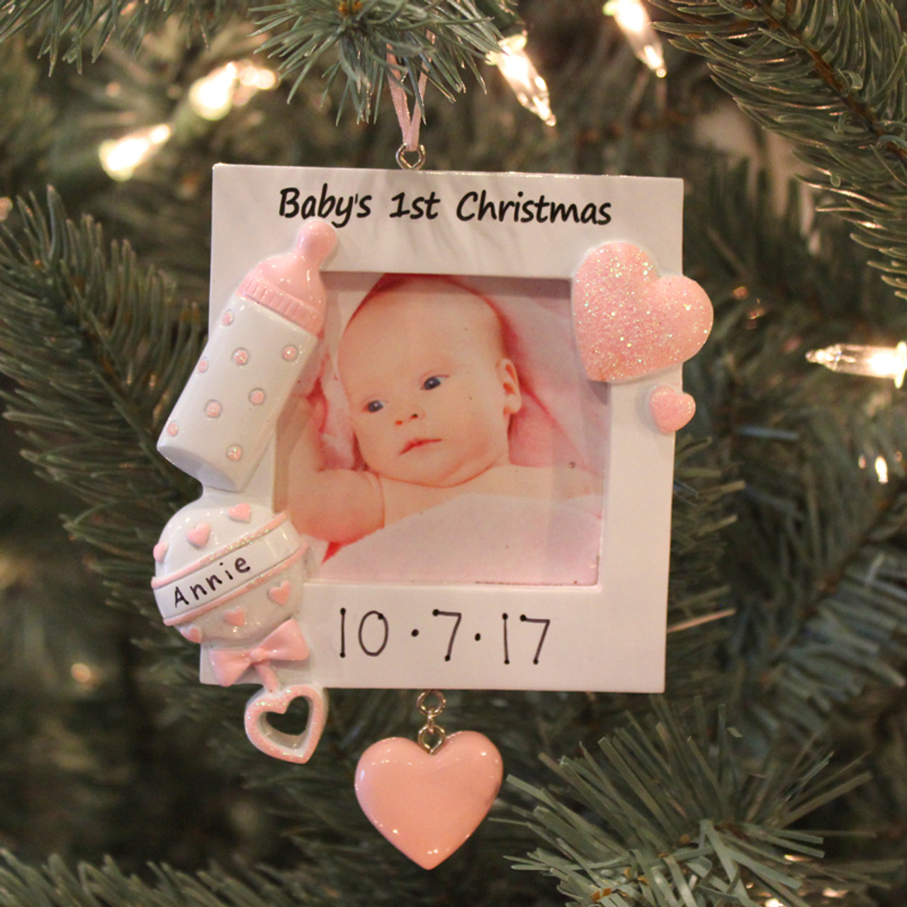 Personalized Baby S First Christmas Pink Frame Ornament Pf600