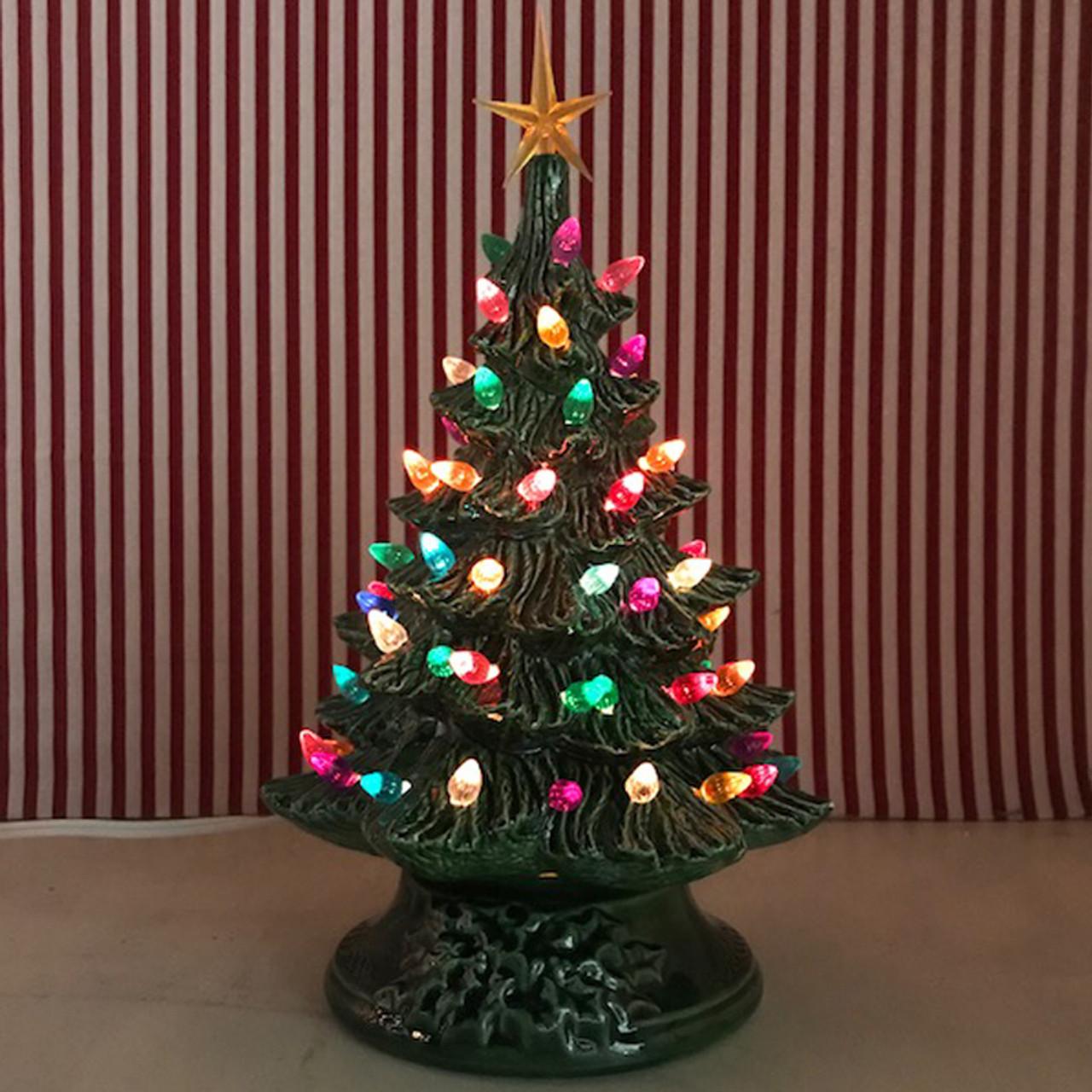 "Small Lighted Green Ceramic Christmas Tree 12"""