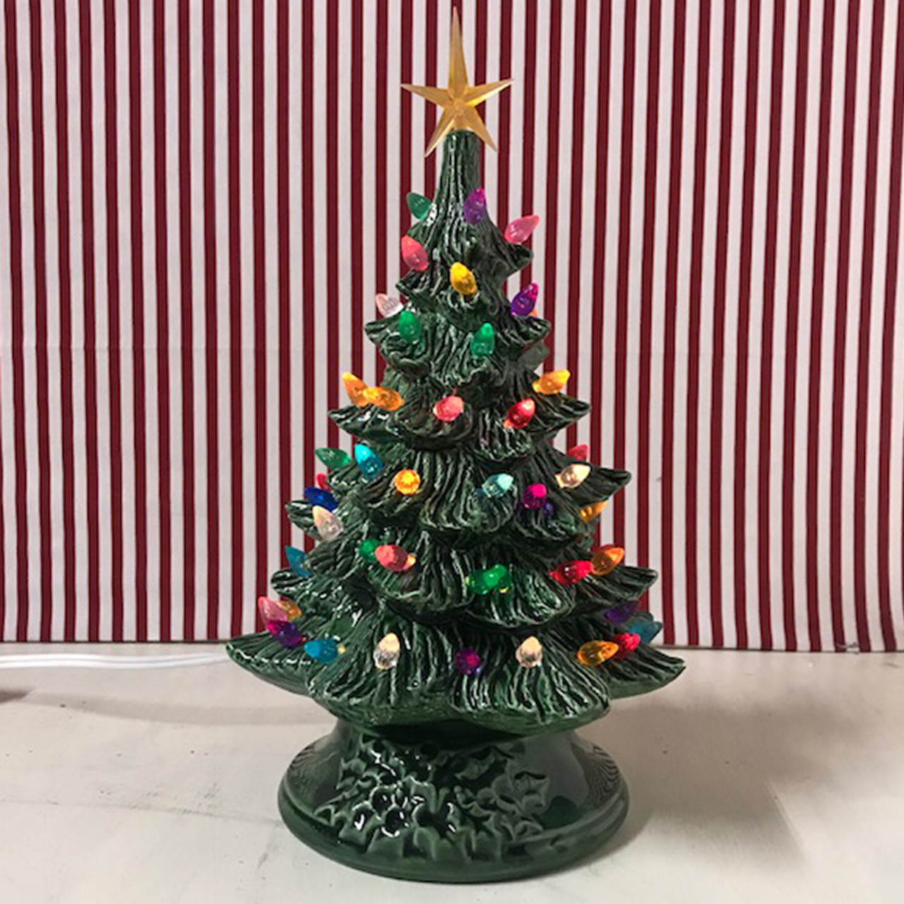 Small Lighted Green Ceramic Christmas Tree 12""
