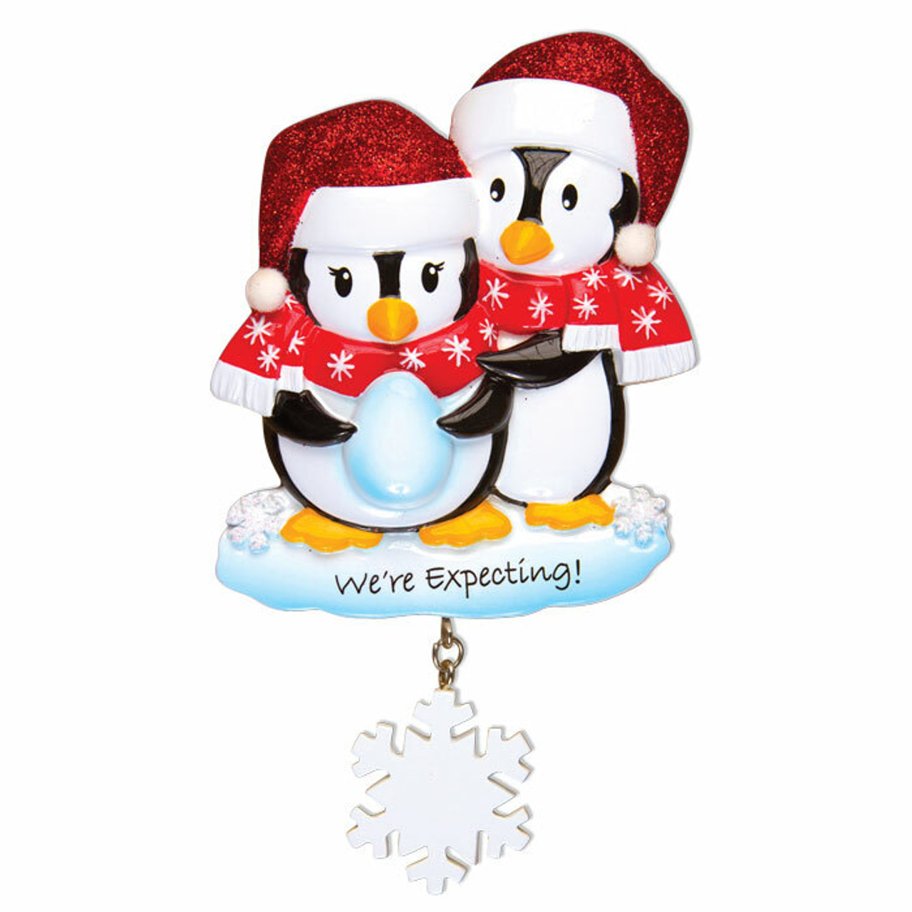 We\u2019re Expecting Personalized Christmas Ornament Pregnant Snowman Couple Expecting Parents Mom to be Dad to be Pregnancy announcement