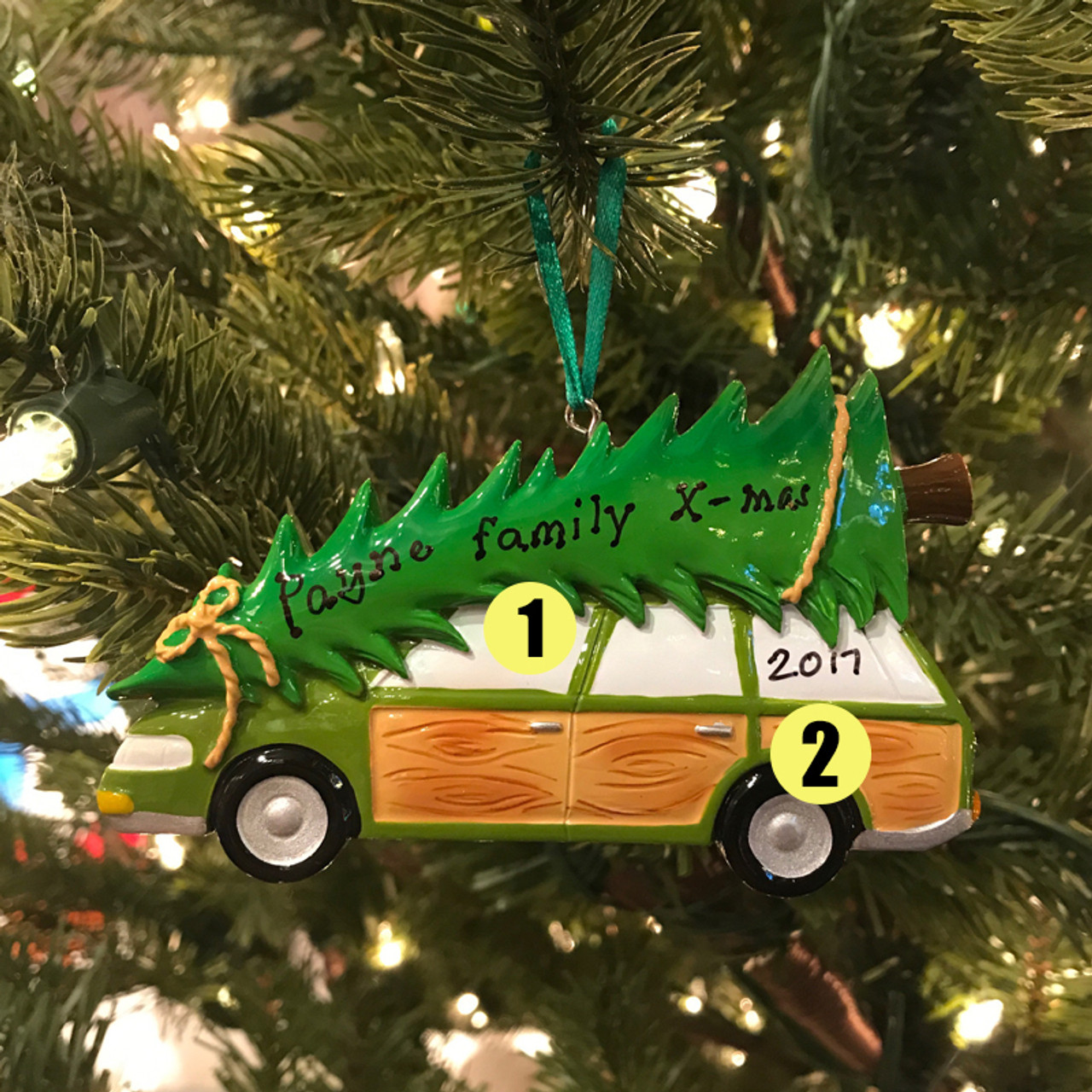 Christmas Ornaments Personalized.Family Station Wagon With Tree Personalized Christmas Ornament Or1565
