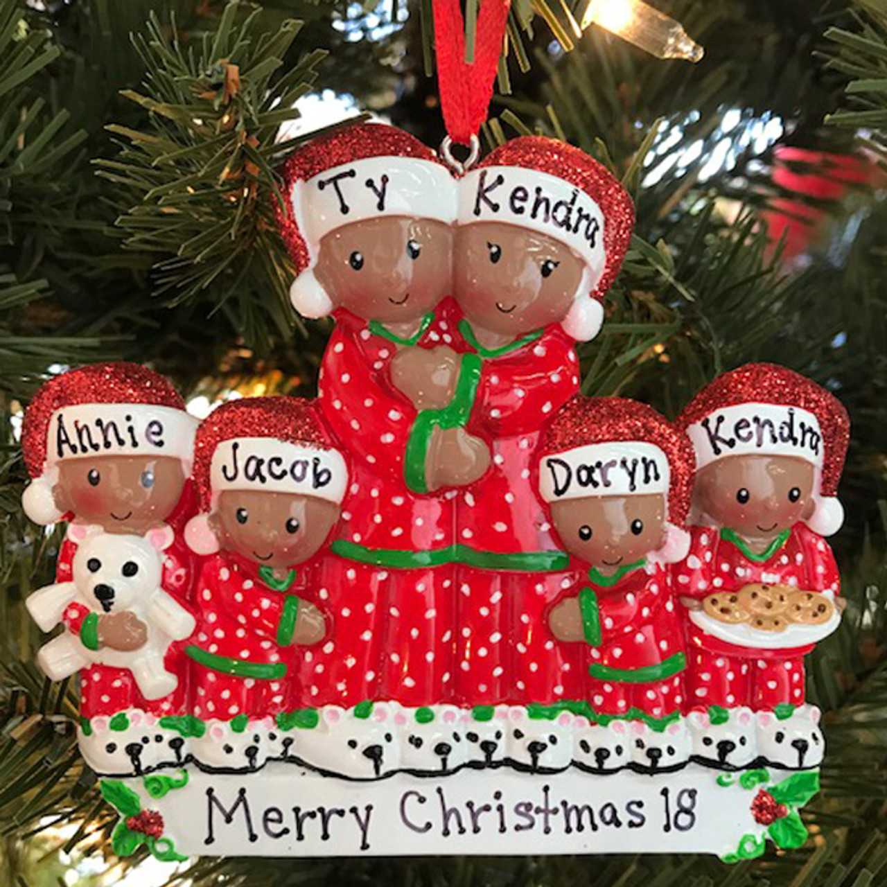 Personalized Christmas Ornament.African American Pajama Family Of 6 Personalized Christmas Ornament