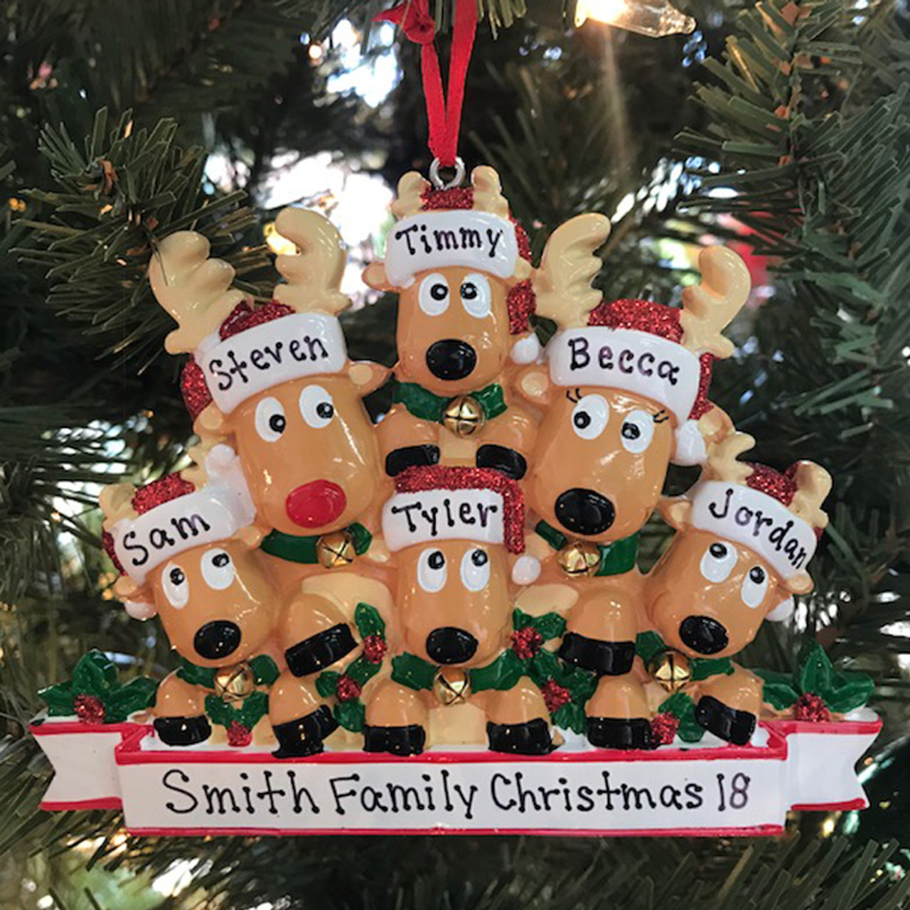 Reindeer Family Of 6 Personalized Christmas Ornament Christmas Ornament Unique Christmas Ornament Personalized Christmas Ornament