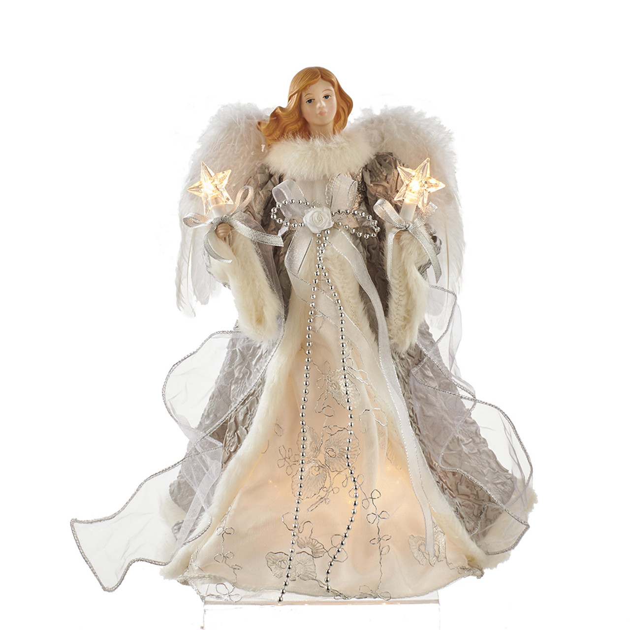 Angel Christmas Tree Topper.14 Lighted Silver And Gray Angel Christmas Tree Topper Ul2223