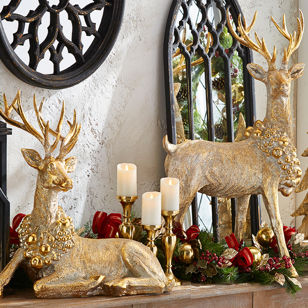 Raz Laying Or Standing Gold Reindeer With Wreath Collar Imports Christmas Home Decor Figure