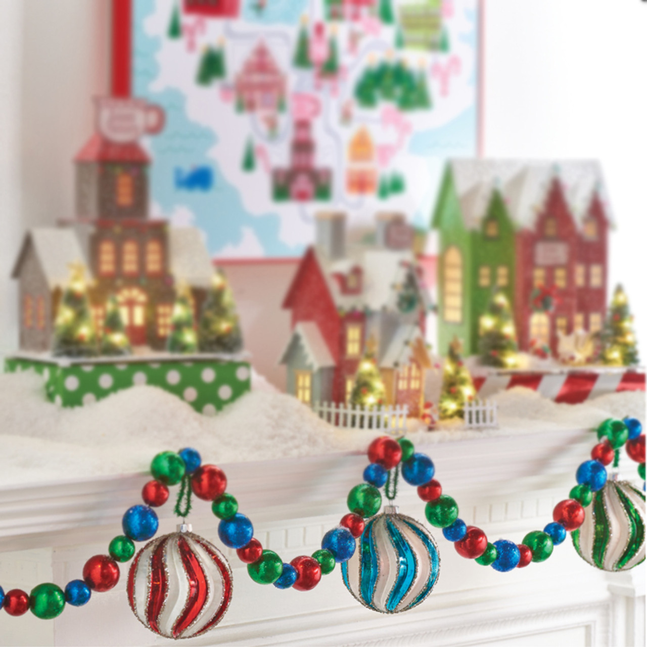 Raz 6 Blue Red And Green Christmas Tree Garland Raz Imports Raz Christmas Christmas Home Decor Christmas Tree Garland Christmas Tree Accessories