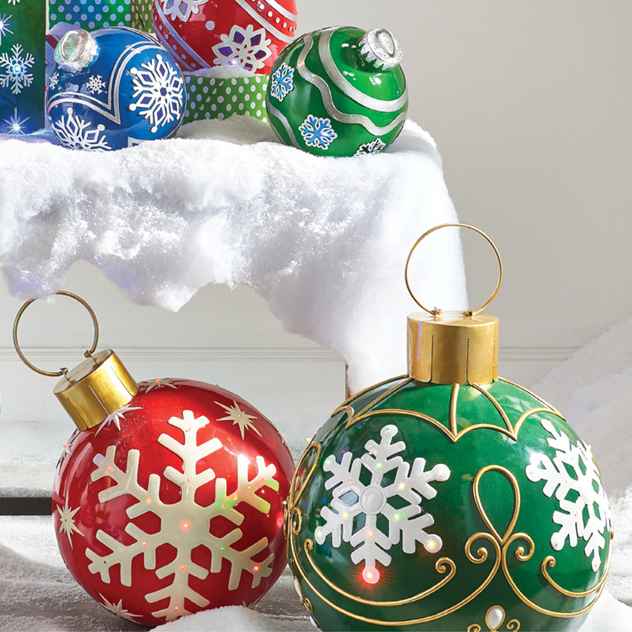 Raz Red or Green LED Lighted Ornament Christmas Decorations