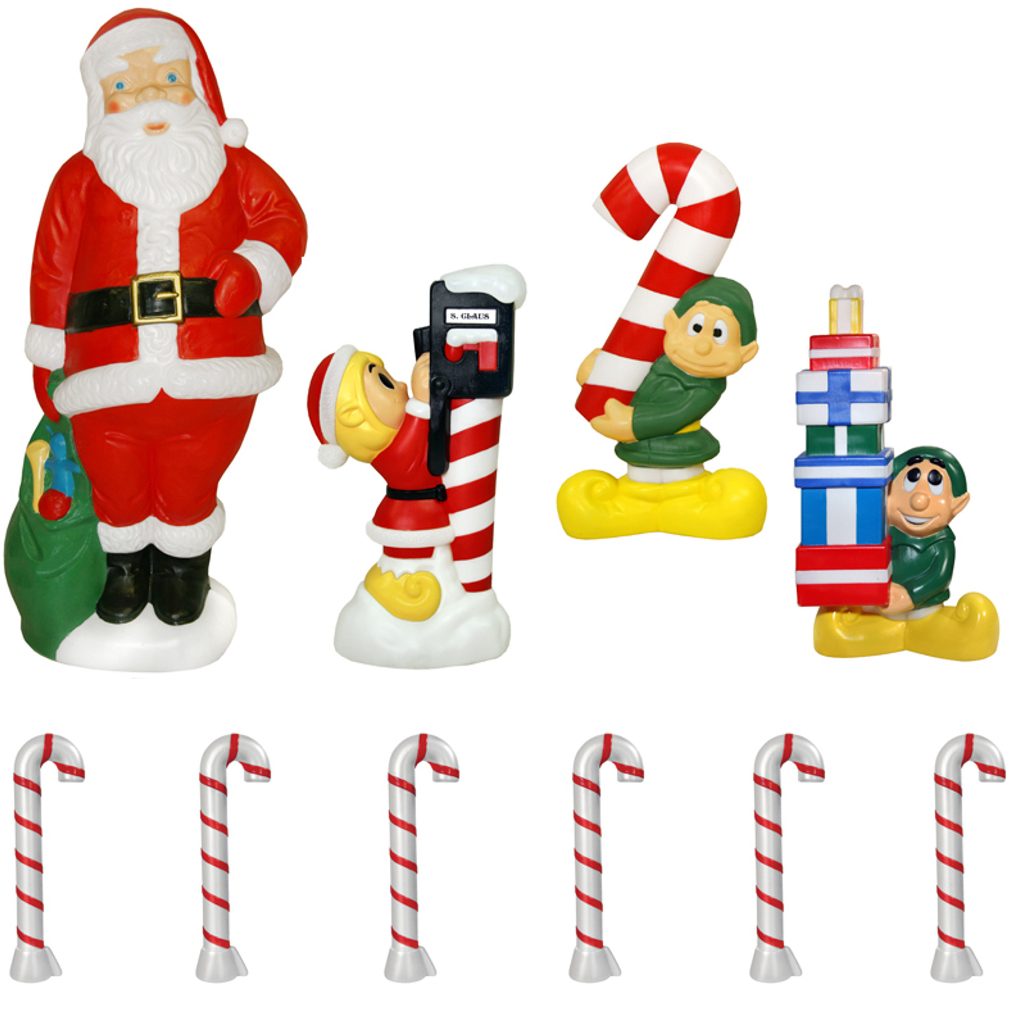 Christmas Blow Molds >> 60 Santa And Elf 10 Piece Lighted Christmas Blow Mold Set