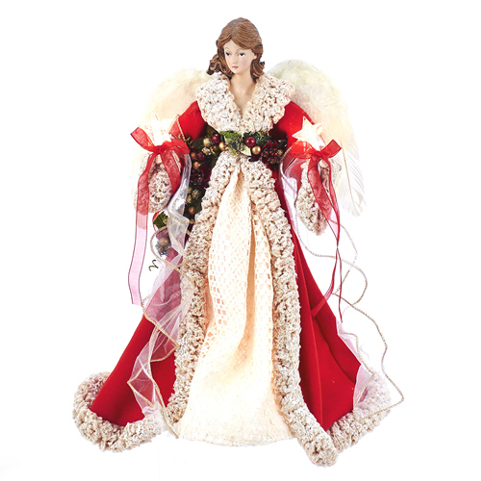 """Small Angel Christmas Tree Topper: 16"""" Red And Ivory Angel Christmas Tree Topper"""
