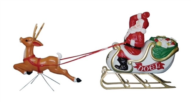 """72"""" Large Santa with Sleigh and Reindeer Blow Mold C6480"""