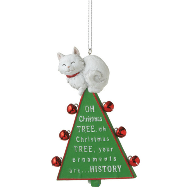 """Oh Christmas Tree"" Funny Cat Christmas Ornament 100699"