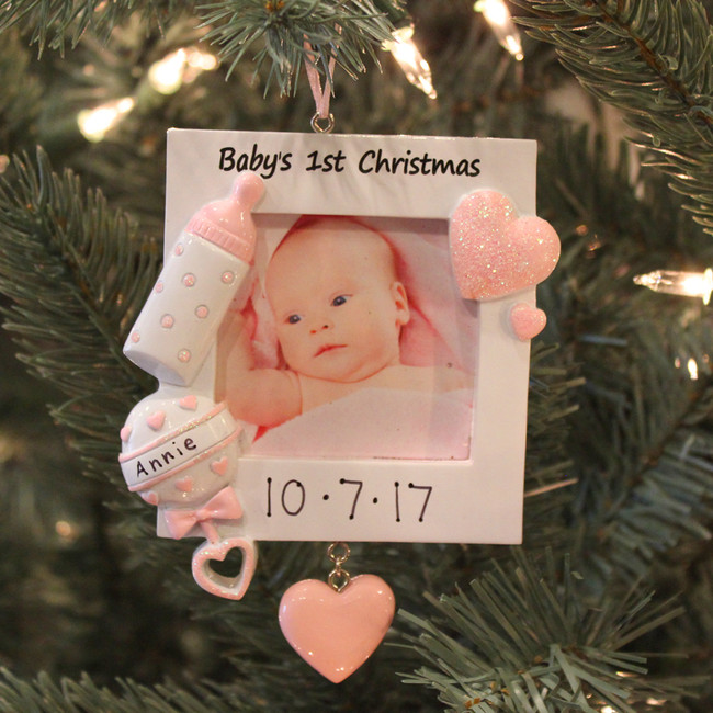 Baby's First Christmas Pink Frame Personalized Christmas Ornament