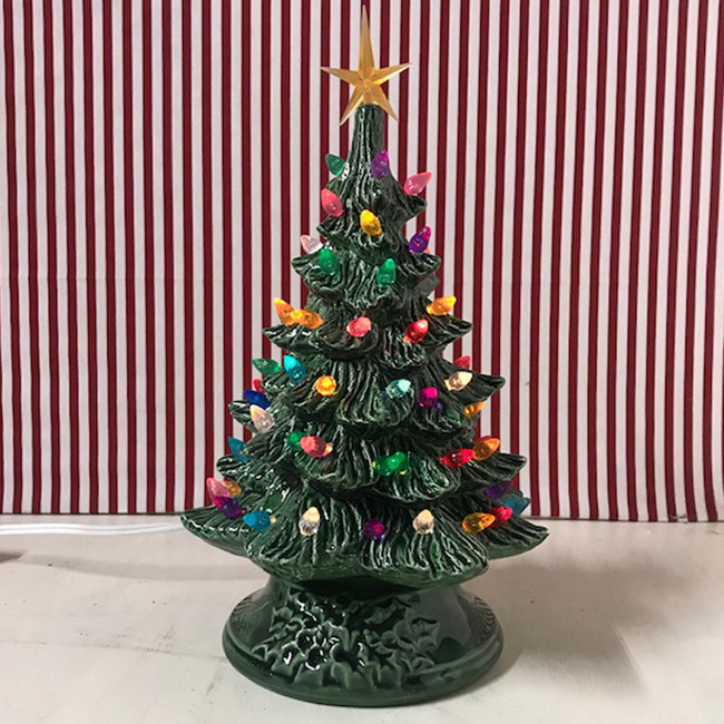 Ceramic Lighted Christmas Tree 12""