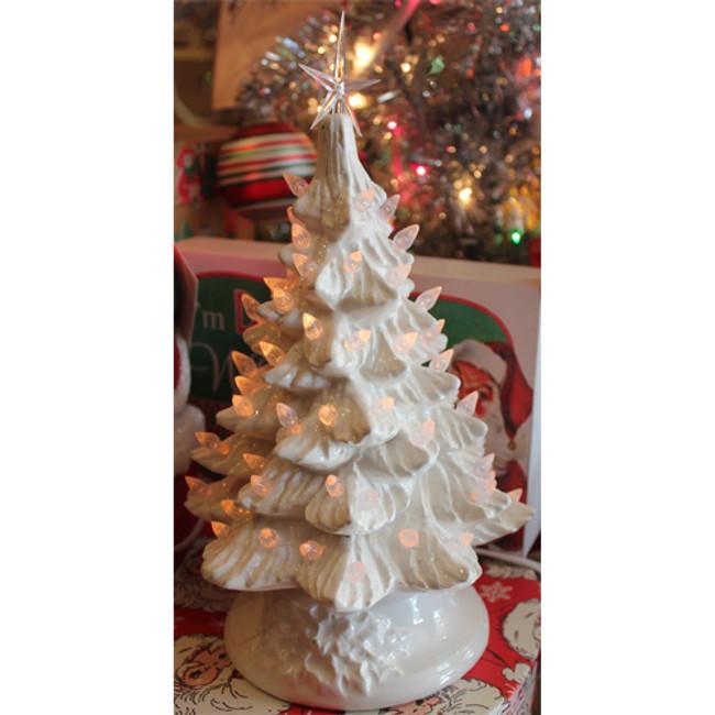 "White Ceramic Lighted Christmas Tree 12"""